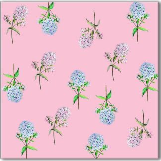 Pink and blue Hydrangea Floral Ceramic Wall Tile Pattern Example