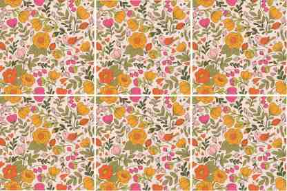 Retro pink floral pattern ceramic wall tiles example