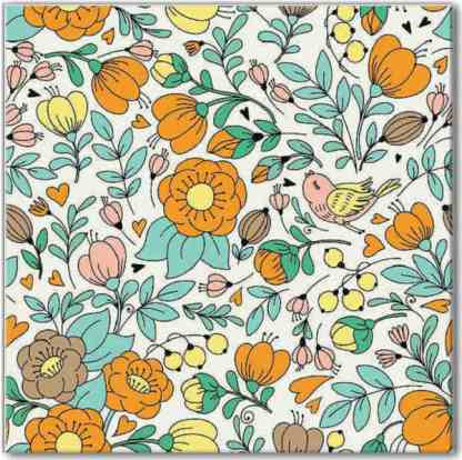 Retro floral pattern ceramic square wall tile