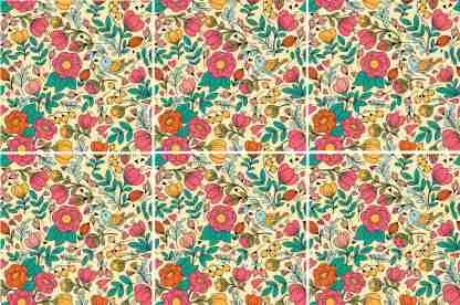 Retro floral ceramic wall tile pattern example
