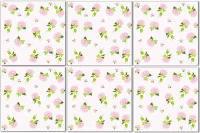 Hydrangea tiles - Ditsy Pink Hydrangea Ceramic Wall Tile Pattern Example