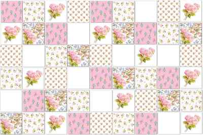 Hydrangea Tiles - Eclectic patchwork pattern example of a selection of different Hydrangea ceramic wall tiles