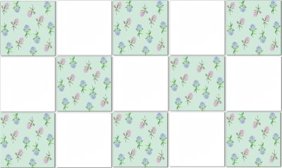 Hydrangea Tiles - Green & White Checked Ceramic Wall Tiles Pattern Example