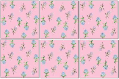 Hydrangea Tiles - Blue and Pink Flowers on a Pink Background, Ceramic Wall Tile Pattern Example