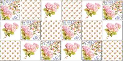 Hydrangea Tiles - Patchwork pattern of ceramic wall tiles with watercolour Hydrangea designs