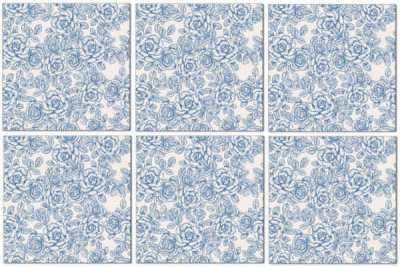 Splashback Tiles - Light Blue Roses Pattern Example