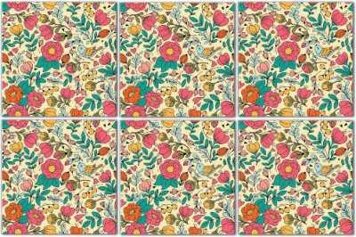 Splashback Tiles - Retro Floral Tile Pattern Example
