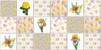 Splashback Tiles - Floral Tiles Pattern Design Idea in Yellows