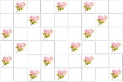 Shabby Chic Tiles - Hydrangea Single Pink Scatter Tile Pattern Example