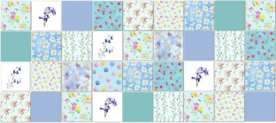 Maximalist Tiles Ideas - Patchwork Tile Pattern Example in Pale Blues