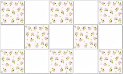 Shabby Chic Tiles - Pink White Check Hydrangea Tile Pattern Example