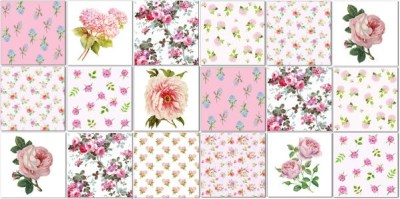 Shabby Chic Tiles - Pink Floral Tiles pattern example