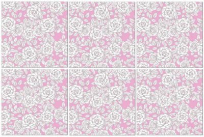 rose tiles ideas - pink and white roses patterned ceramic wall tile