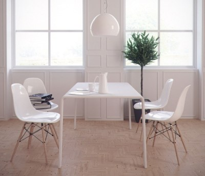 Maximalist Tile Ideas - Example of Minimalist Design - plain white table and chairs