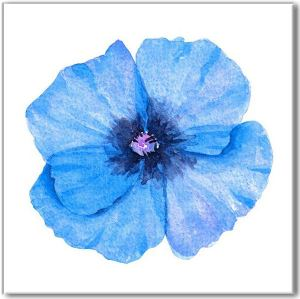 Blue tiles - blue poppy on a white background ceramic wall tile