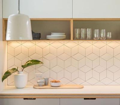 Kitchen Splashback Tiles Ideas   Geometric Look Wall Tiles