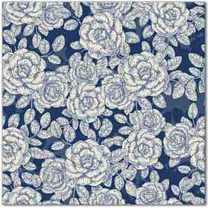 Blue Tiles - dark blue and white roses pattern ceramic wall tile