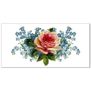 Pink Rose and Forget Me Nots Border Tile