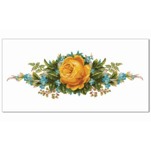 Yellow Tiles - Yellow Rose and Forget-Me-Nots Border Tile