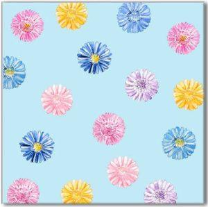 Blue Tiles - Blue Daisy Pattern Ceramic Wall Tile