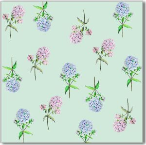 Patterned Tiles - Pink and Blue Hydrangea flowers on a pale green background ceramic patterned wall tile
