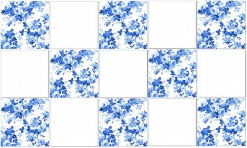 Blue tiles - blue roses pattern tile check pattern