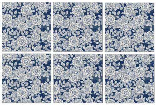 Blue tiles - dark blue roses ceramic wall tiles seamless pattern example