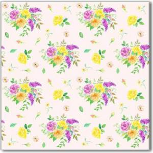 Yellow Tiles - Yellow and Purple Floral Patterned Ceramic Wall Tile