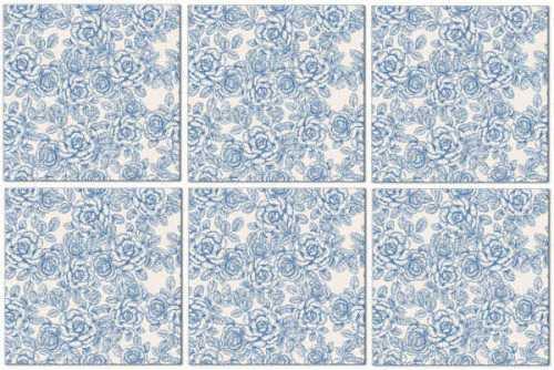 Blue Tiles - Light Blue Roses Pattern Example