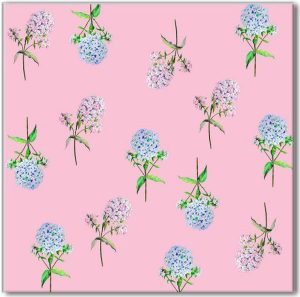 Pink Tiles - Pink and Blue Hydrangea patterned wall tile