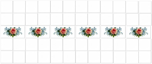Pink Tiles - Pink Roses Border Tiles Example
