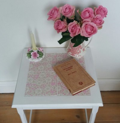 Upcycling a tiled table - pink and white table example