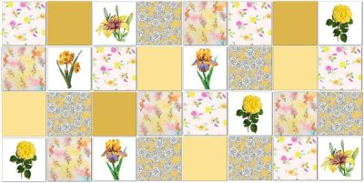 Patchwork Tiles - Yellow floral patchwork tiles pattern example