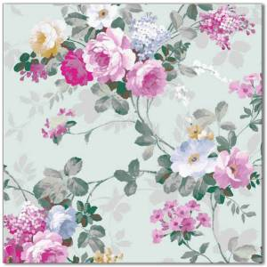 Flower Tiles - pale green and pink roses ceramic wall tile