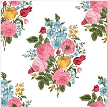 Vintage Flower Spray Ceramic Wall Tile - Seamless Floral Design on a White background