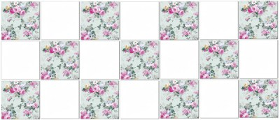 kitchen tiles ideas - pale green roses wall tiles checker pattern example