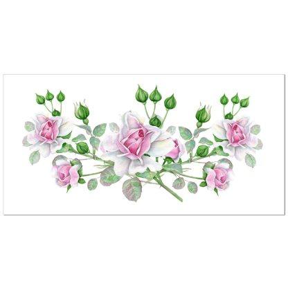 Floral border tile - ceramic wall tile with dusky pink roses design