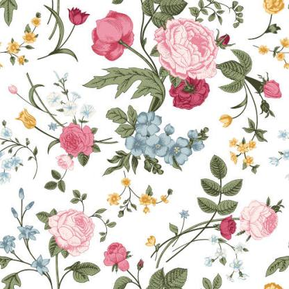 Roses and Peonies on a white background ceramic wall tile
