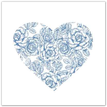Light Blue and White Roses Heart Ceramic Wall Tile