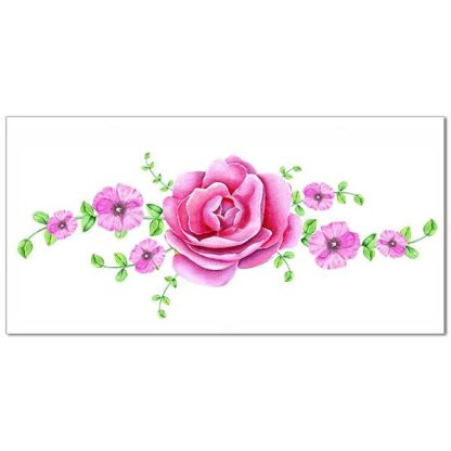 Pink and Cream Camelia Ceramic Border Tile