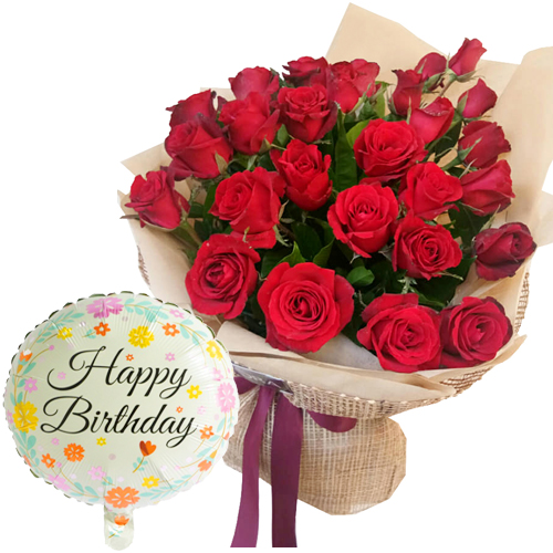 Buy 12 Red Roses Bouquet With Happy Birthday Balloon In Vietnam