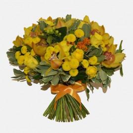 Saulėta diena gėlių puokštė