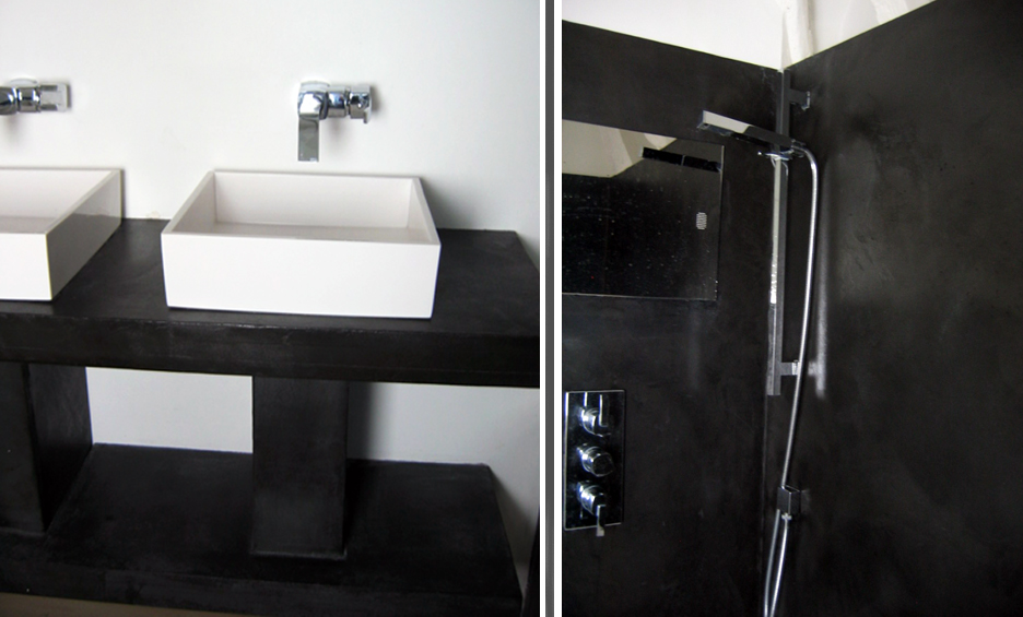 salle de bain en b ton cir noir flore molinaro. Black Bedroom Furniture Sets. Home Design Ideas