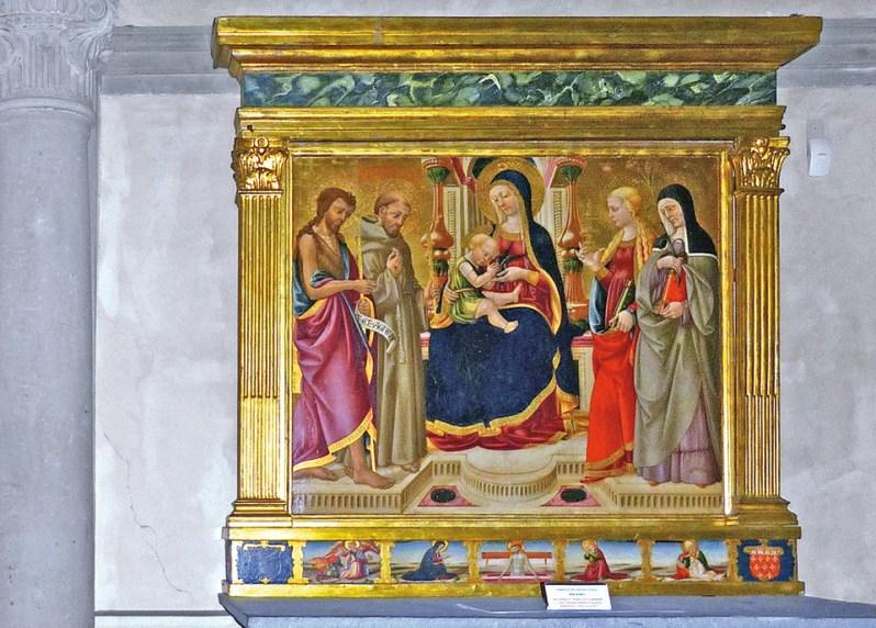 S. Martino a Mensola, Cappella di S. Francesco: Pala d'altare (Madonna in Trono, Neri di Bicci, 1477)