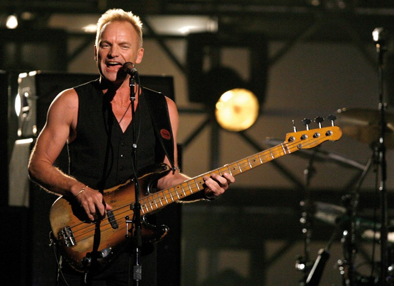 """LOS ANGELES, CA - FEBRUARY 11: Musician Sting performs """"Roxanne"""" onstage with the band The Police opening the 49th Annual Grammy Awards at the Staples Center on February 11, 2007 in Los Angeles, California. (Photo by Kevin Winter/Getty Images)"""