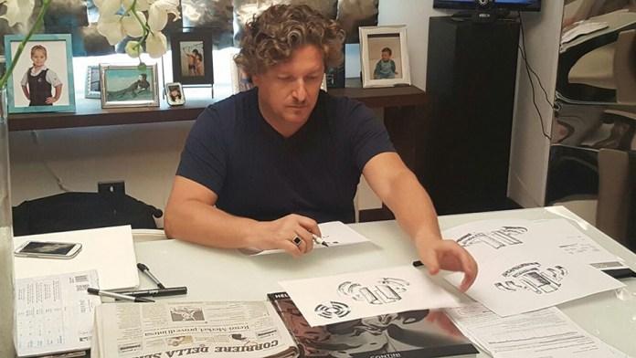 Helidon Xhixha in his studio, preparing the sketch for London Design Biennale
