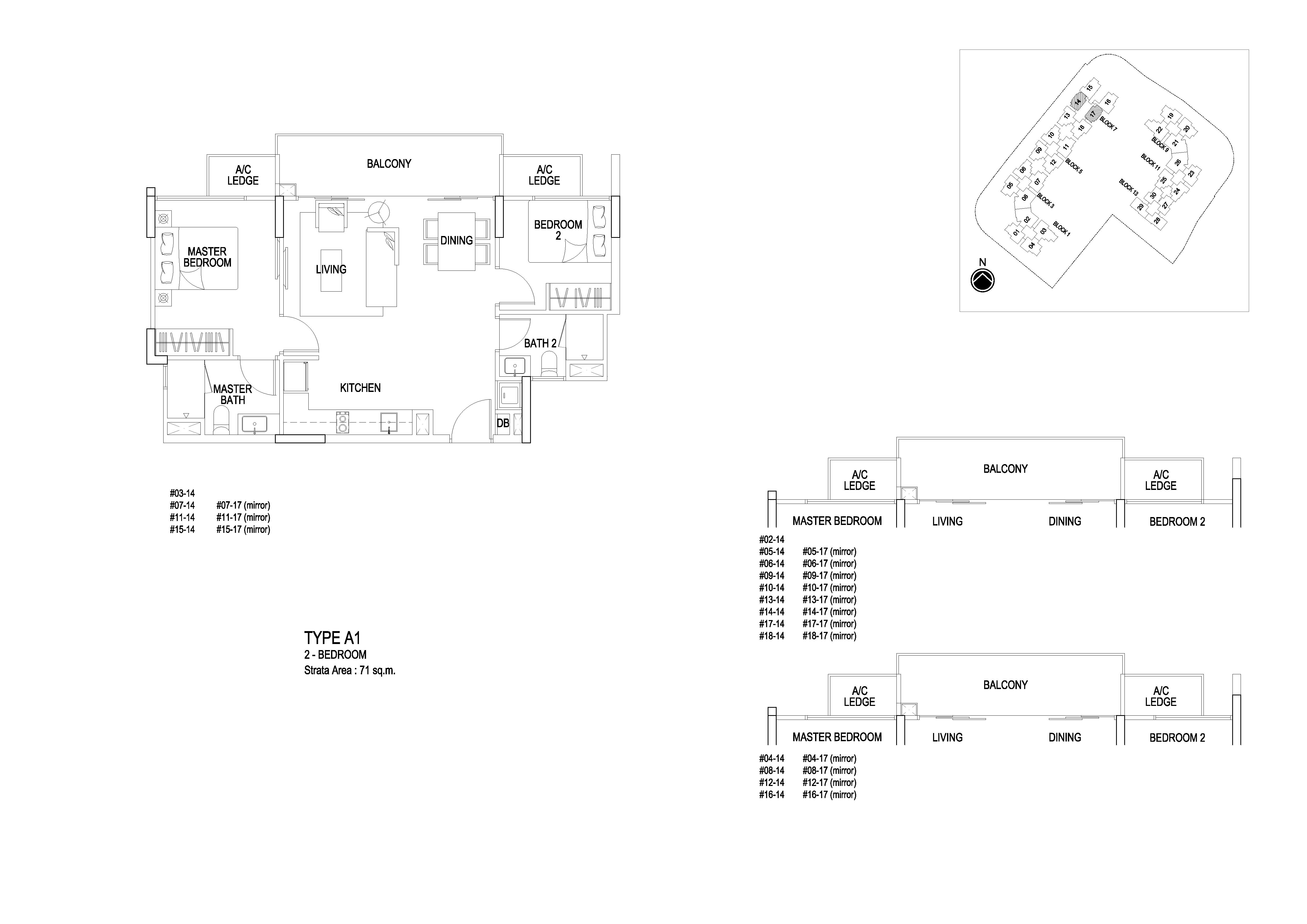 Flo Residence 2 Bedroom Floor Plans Type A1