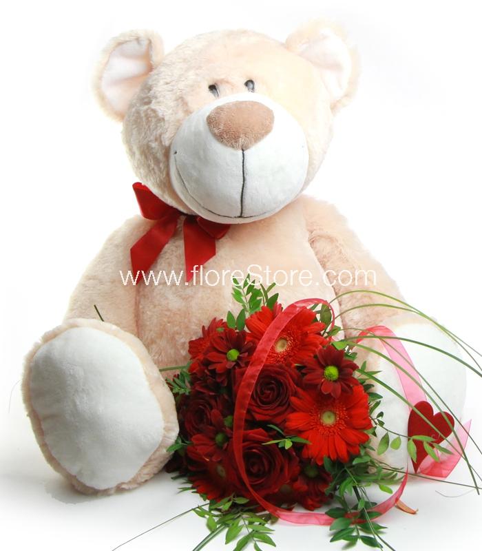 Oso de Peluche Gigante con flores para San Valentin