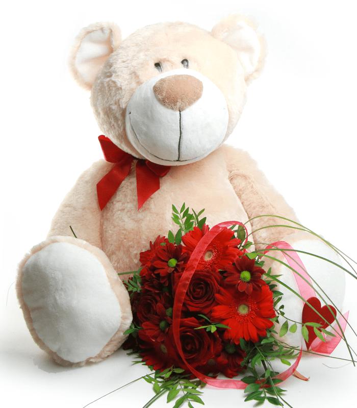 Oso con flores de San Valentín