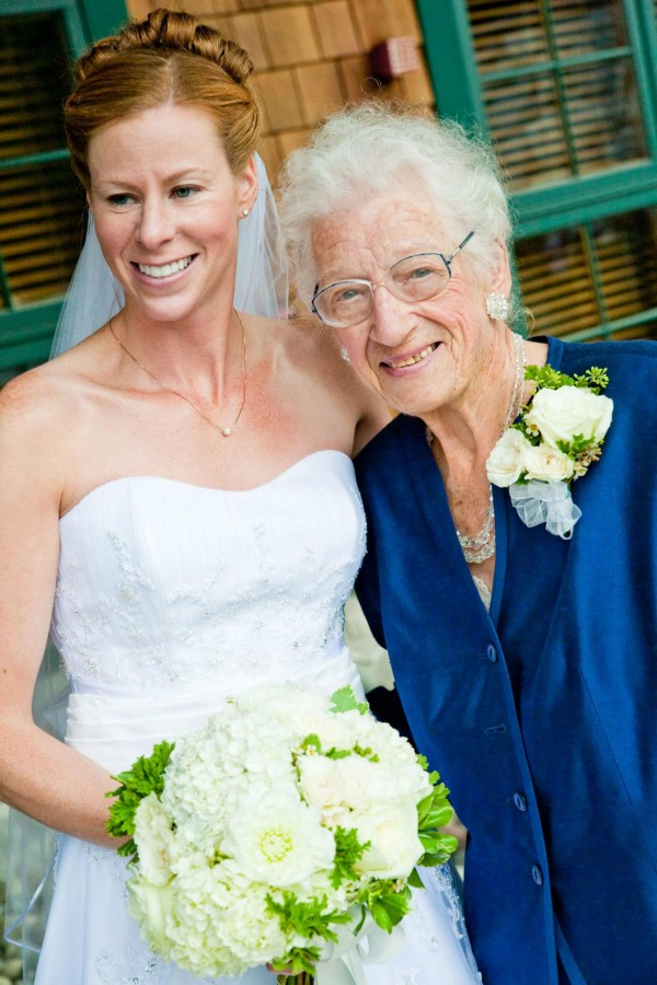 The lovely bride Gretchen and her sweet grandmother Rose.